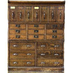 Antique oak stacking file cabinet quarter sawn