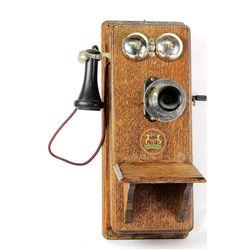Oak wall telephone by Swedish American Telephone