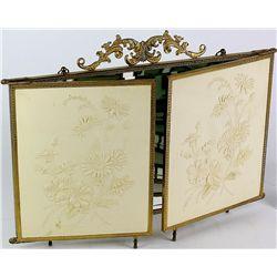Antique trifold dresser mirror with raised