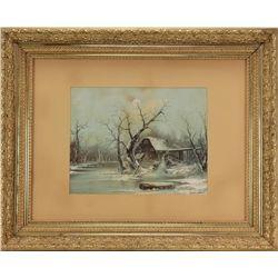 Large gilt framed lithograph of winter scene