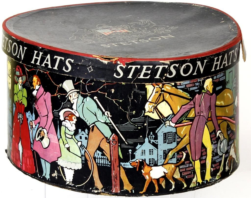 adc7d3e5835b04 Image 1 : Good early vintage Stetson hat box with lid.