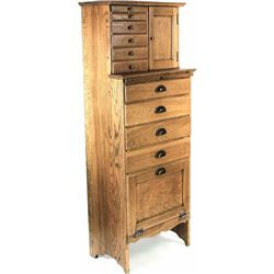 Unusually small antique oak dentist cabinet