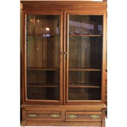 1880's walnut double door bookcase