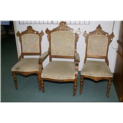 Two antique side chairs and one carver, all with matching upholstered seat and backs