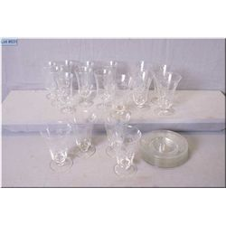 A selection of etched glassware including eight large and eight small parfait glasses with eight und