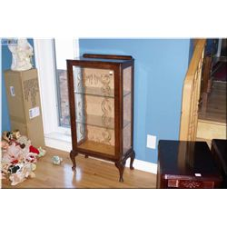 Single door English curio cabinet with original litho glass and cabriole feet
