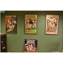 Four framed posters including Two foiled DragonballZ, foiled GundamWing and Starwars