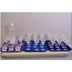 Selection of pinwheel crystal including six tall, eighteen medium wine goblets, crystal decanter plu