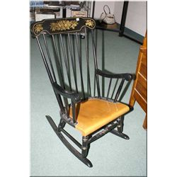 Modern painted rocking chair with gilt floral decoration