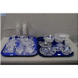 A selection of vintage crystal and glassware including lidded pinwheel butter dish and two sets of c