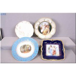 Four vintage wall plates including marked Bavaria, some with hand enamelling