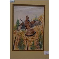 "A framed watercolour ""Ruffed Grouse"" by artist Edgar Jones 9"" X 6'"