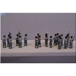 A selection of Britains metal soldiers Grenadier guards, British Grenadiers in grey coats, and six I