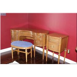 Mid 20th century walnut bedroom furniture including kidney shaped vanity with bench and a two drawer