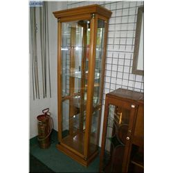 A wood framed glass display with four glass shelves, glazed sides and front