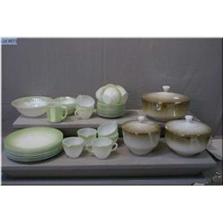 Selection of FireKing including three lidded graduated bowls, plus eight dinner plates, eight cups a