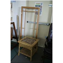 Tile top and woven side table and a vintage window frame