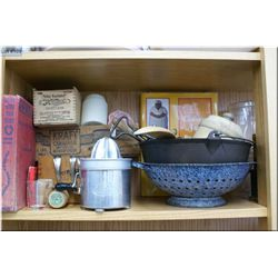 A selection of vintage and antique collectibles including wooden butter mold, wooden product boxes i