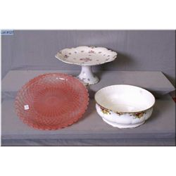 "A large pink pressed glass plate, a large German porcelain comport and a Royal Albert ""Old Country R"