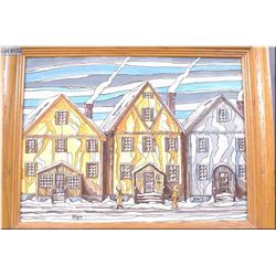 "Framed original acrylic on canvas painting ""Winter Stucco"" by artist Henry Letendre 16"" X 12"""