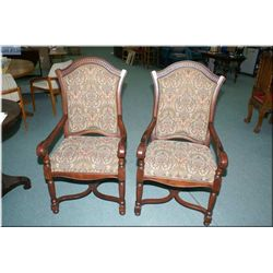 A pair of tapestry upholstered open armed parlour chairs