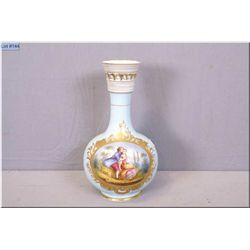 "An antique unmarked vase with gilt decoration and hand painted lovestory cameo, 13"" in height"