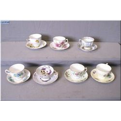 Seven china cups and saucers including Royal Albert, Aynsley etc.
