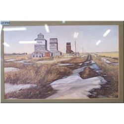 Two framed prints featuring rural scenes including Pool grain elevators and an abandoned farmhouse s