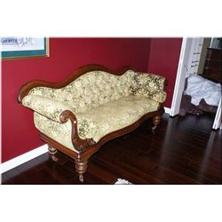 Antique Empire style full sized sofa with button tufted upholstery, original finish and original por
