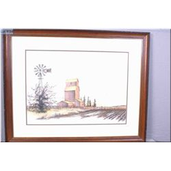 Framed limited edition print of a Granary signed by artist Steven B. Osler 153/300