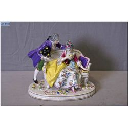 "An unmarked Dresden style porcelain lovestory figure, 7 1/2"" in height"
