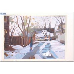 Framed original mixed media painting  Oliver Scene  by artist Jim Vest 14  X 10