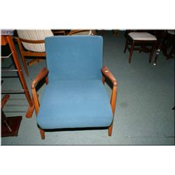 Vintage upholstered teak side chair
