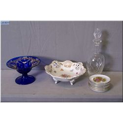 A selection of collectibles including hand enamelled cobalt glass comport, a footed German pierced b