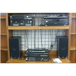Technics stereo system including CD changer, amplifier, tuner, turn table, dual tape deck, equalizer