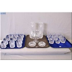 Selection of crystal glassware including a pair of matched decanters, snifter style flower vase, two