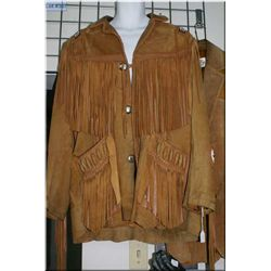A vintage Scully fringed and beaded leather coat