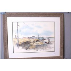 Framed limited edition print of boat house pencil signed by artist Steven B. Osler 96/300