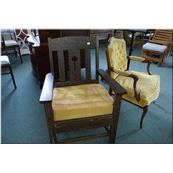Oak mission style parlour chair