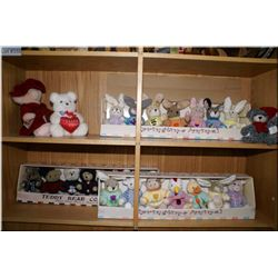 A large selection of plush bunnies and teddies