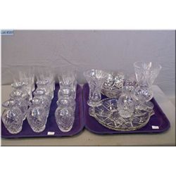 Ten crystal bud vases, two flower vases, twelve tumblers, divided dish and trifle bowl