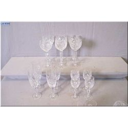 Thirty nine pieces of quality crystal stemware with etched floral including red wine, champagne flut