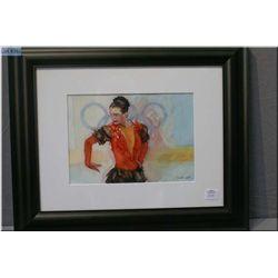 A framed original pastel drawing of 1988 Olympic gold winning figure skater Katherina Witt by artist