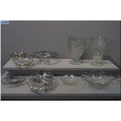 Selection of Iris and Herring Bone crystal including flower vase, water jug and two fluted dishes pl