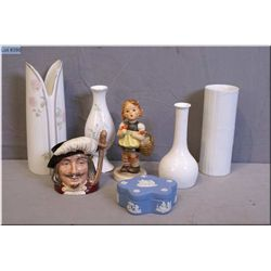 A selection of collectibles including two Rosenthal bud bases, two Royal Doulton vases, a Royal Doul