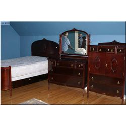 Mid 20th century bedroom suite including double bed with rails, mirrored dresser and fitted chiffaro