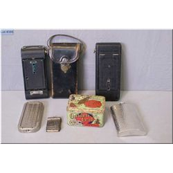 A selection of vintage collectibles including Golden Leaf Tobacco tin, flask, razor in case, two vin