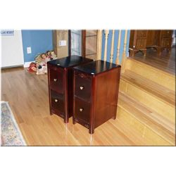 Pair of two drawer mid 20th century night tables Note: Refinished to match lot 393