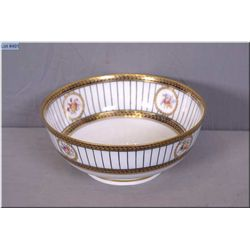 """A Crescent porcelain dish with floral and gilt decoration, 9 1/2"""" in diameter and 4"""" high"""