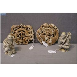 Two Asian white jade carvings and two bone Netsukes
